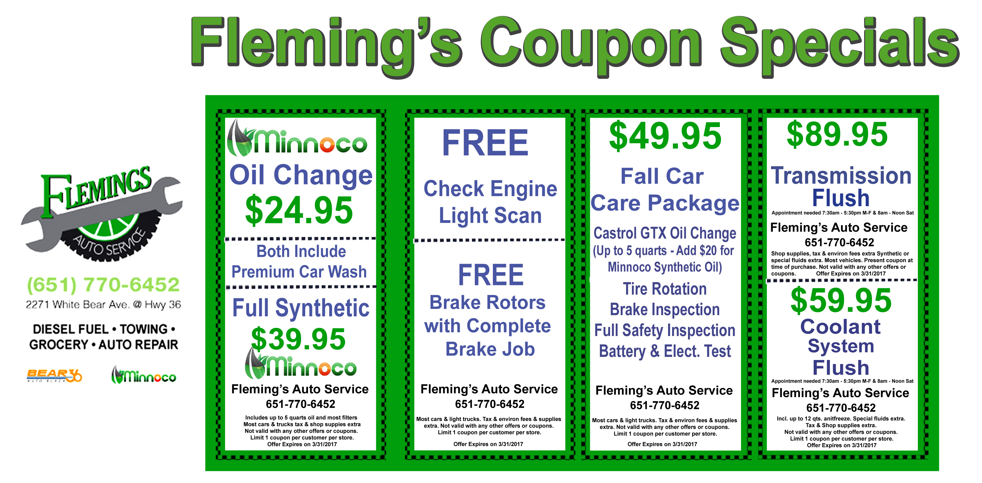 fleming 39 s auto service repair coupons. Black Bedroom Furniture Sets. Home Design Ideas